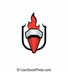 Torch with flames on the heraldic shield background. Logo template for sports competitions, education organizations.