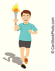 Torchbearer athlete in blue running with sport torch in...