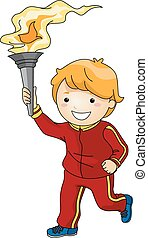 Torchbearer Boy - Illustration Featuring a Young Male...