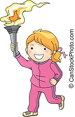 Torchbearer Girl - Illustration Featuring a Young Female...