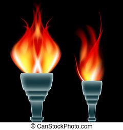 torche, ensemble, brûlé