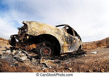 torched, y, abandonado, suv