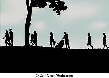torcida, de, pessoas andando