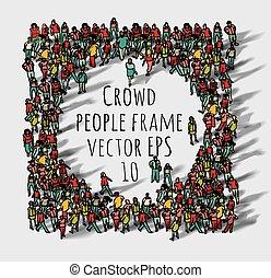 torcida, grande, grupo, pessoas, frame.