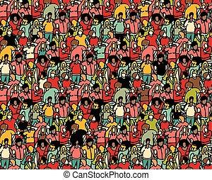 torcida, grande, grupo, pessoas, seamless, pattern.