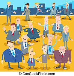 torcida, homens, ou, homens negócios, caráteres, caricatura