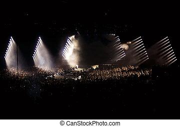 torcida, ligado, concerto, partido, discoteca, luz, fundo