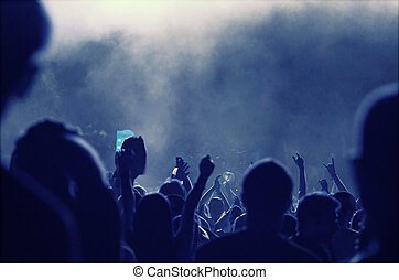 torcida, luzes, foto, -, alegrando, retro, frente, fase