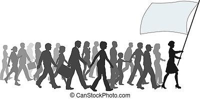 torcida, passeio, bandeira, segurando, seguir, líder, ===...