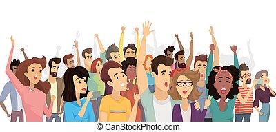 torcida, pessoas, cartaz, ilustração, vetorial, feliz