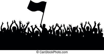 torcida, pessoas, cheerful., fans., bandeira esportes, silhouette., homem