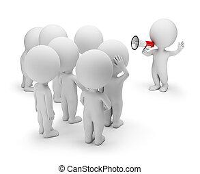 torcida, pessoas, -, falando, pequeno, 3d