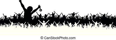 torcida, pessoas, fans., distinguindo, esportes, silhouette.