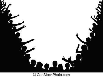 torcida, silhouettes., audiência, espectadores, vetorial, public.