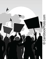 torcida, vetorial, fundo, paisagem, protesters