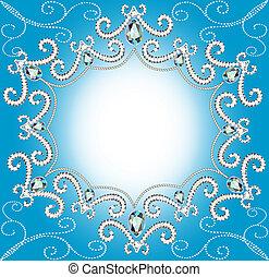 torcido, borda, fundo, pérolas, prata, ornamento