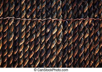 torcido, escuro, tranças, tapete, fim, bambu, textura