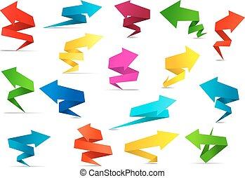 torcido, flecha, banderas, en, origami, estilo