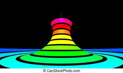 torcido, rotación, -, movimiento, arco irirs