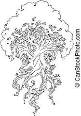 torcido, tronco, árbol