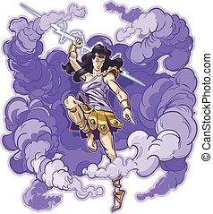 torden, gudinde, titan, eller, kvindelig