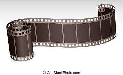 tordu, bande film, rouleau, pour, photo, ou, vidéo, blanc,...