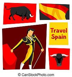 toreador, hiszpański, tradycyjny, miecz, byk, corrida.,...