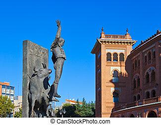 Toreador statue and bullfighting arena - Madrid Spain