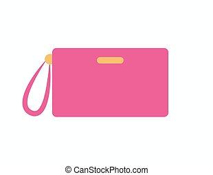 torebka damska, od, różowy, kolor, pozycja, wektor, ilustracja