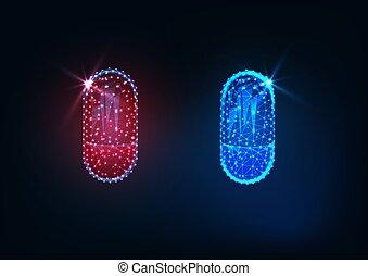 torebki, futurystyczny, jarzący się, leki, polygonal, odizolowany, błękitny, tło., ciemny, niski, czerwony
