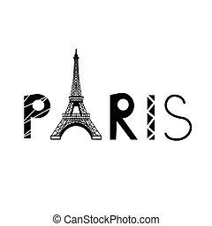 toren, eiffel, meldingsbord, parijs