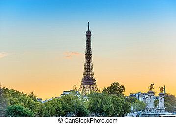 toren, eiffel, ondergaande zon , parijs, frankrijk
