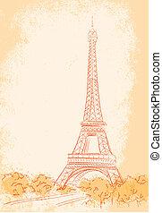 toren, eiffel, parijs, achtergrond