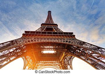 toren, eiffel, parijs, zonopkomst