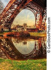 toren, eiffel, reflectie