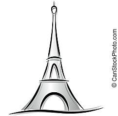 toren, eiffel, tekening