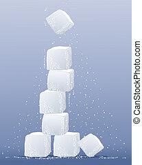 toren, kubus, suiker