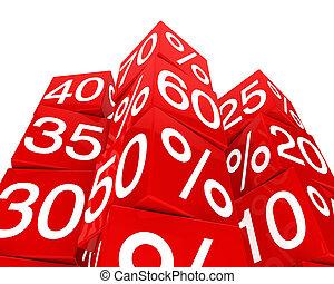 toren, kubus, verkoop, rood