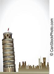 toren, pisa, neiging