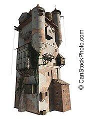 toren, tovenaar, middeleeuws, of