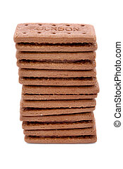 toren, van, chocolade, room, gevulde, koekjes, op, witte