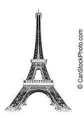 toren, vector, illustratie, eiffel