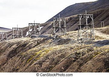 torens, steenkool, longyearbyen, luchtopnames, svalbard, noorwegen, mijnbouw