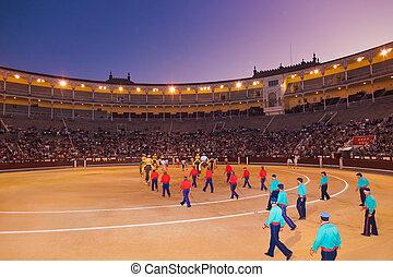 toreo, arena, corrida, en, madrid, españa