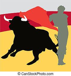 Bullfighter, bull, typical spanish vector illustration