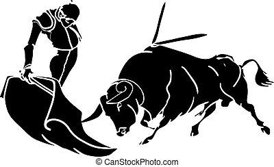 Torero - Toro con torero en faena