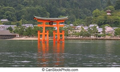 Tori gate at sea on Miyajima, Hiroshima - Approatching...