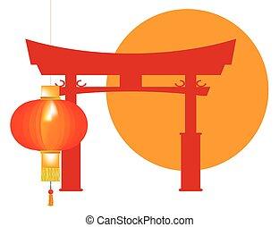 Tori Gate Icon - A typical Japanese Tori gate silhouette...