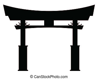 Tori Gate Silhouette - A typical Japanese Tori gate...