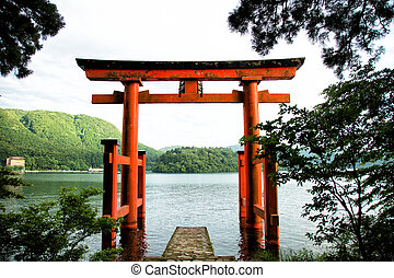 Tori gate - Orange tori gate in Moto Hakone along the Ashi...